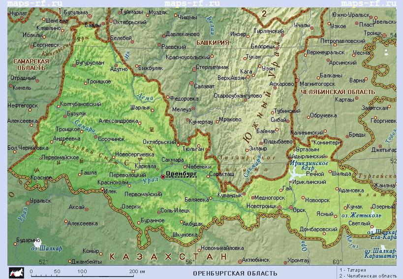 Карта Оренбурга online.