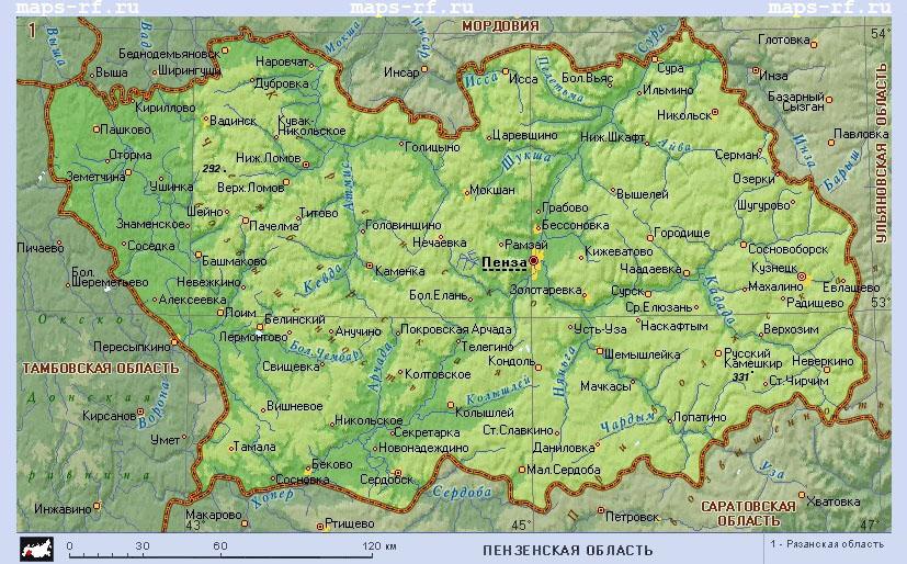 Карта пензенской области по районам