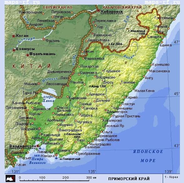 Карта приморского края с городами и поселками скачать