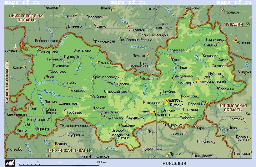 Карта Мордовии. Подробная карта республики Мордовия по районам
