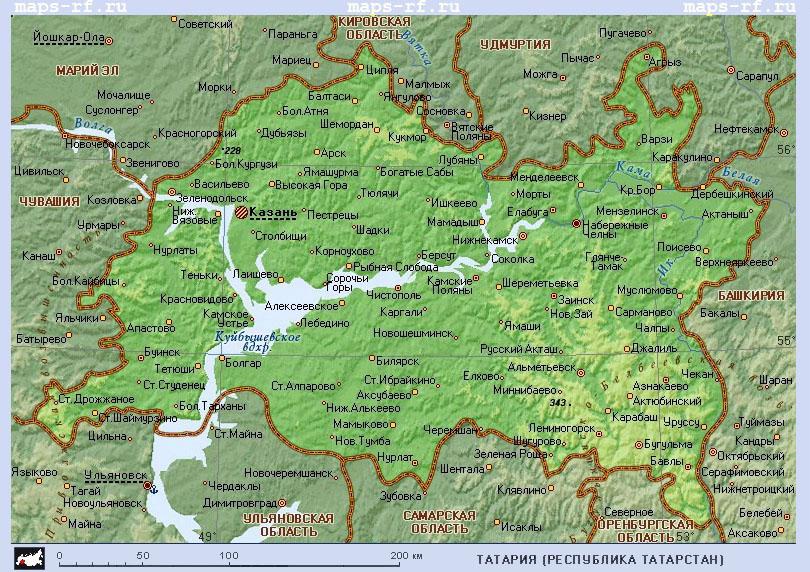 Карта Татарстана Карта Казани Подробная карта
