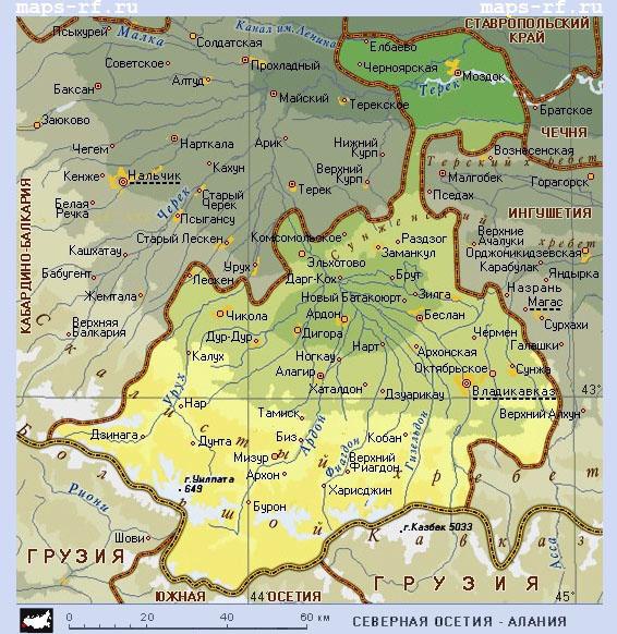 Карта северной осетии алании