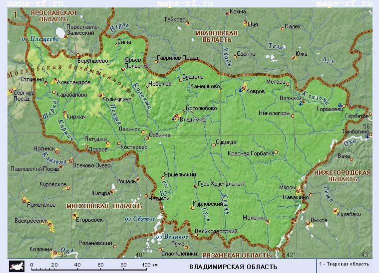 скачать карту владимирской области
