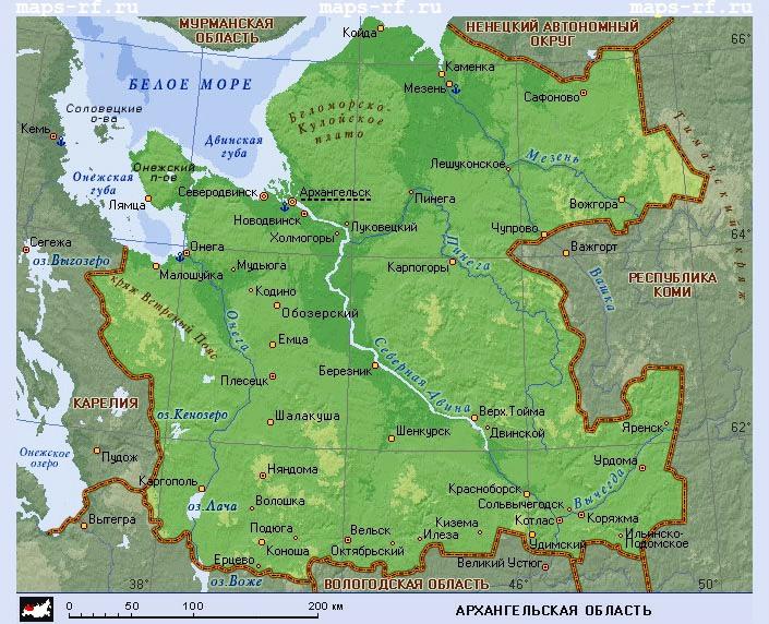 Карта Архангельской области подробная с районами смотреть ...
