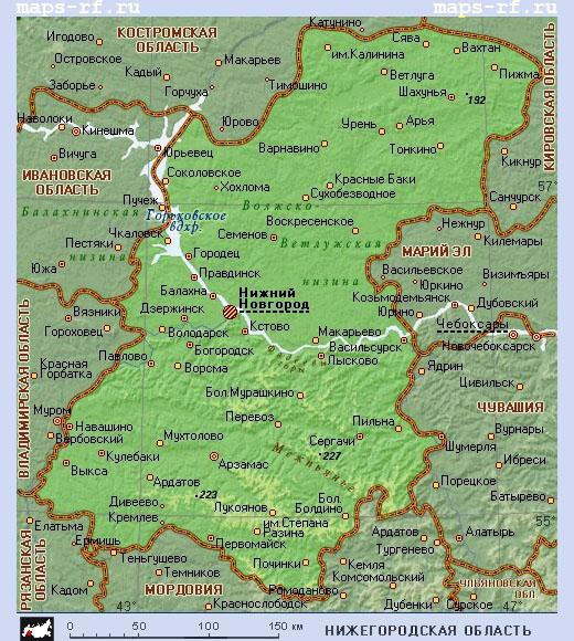Карта Нижегородской области с населенными пунктами