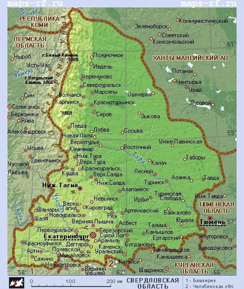 Подробная карта Свердловской области по районам